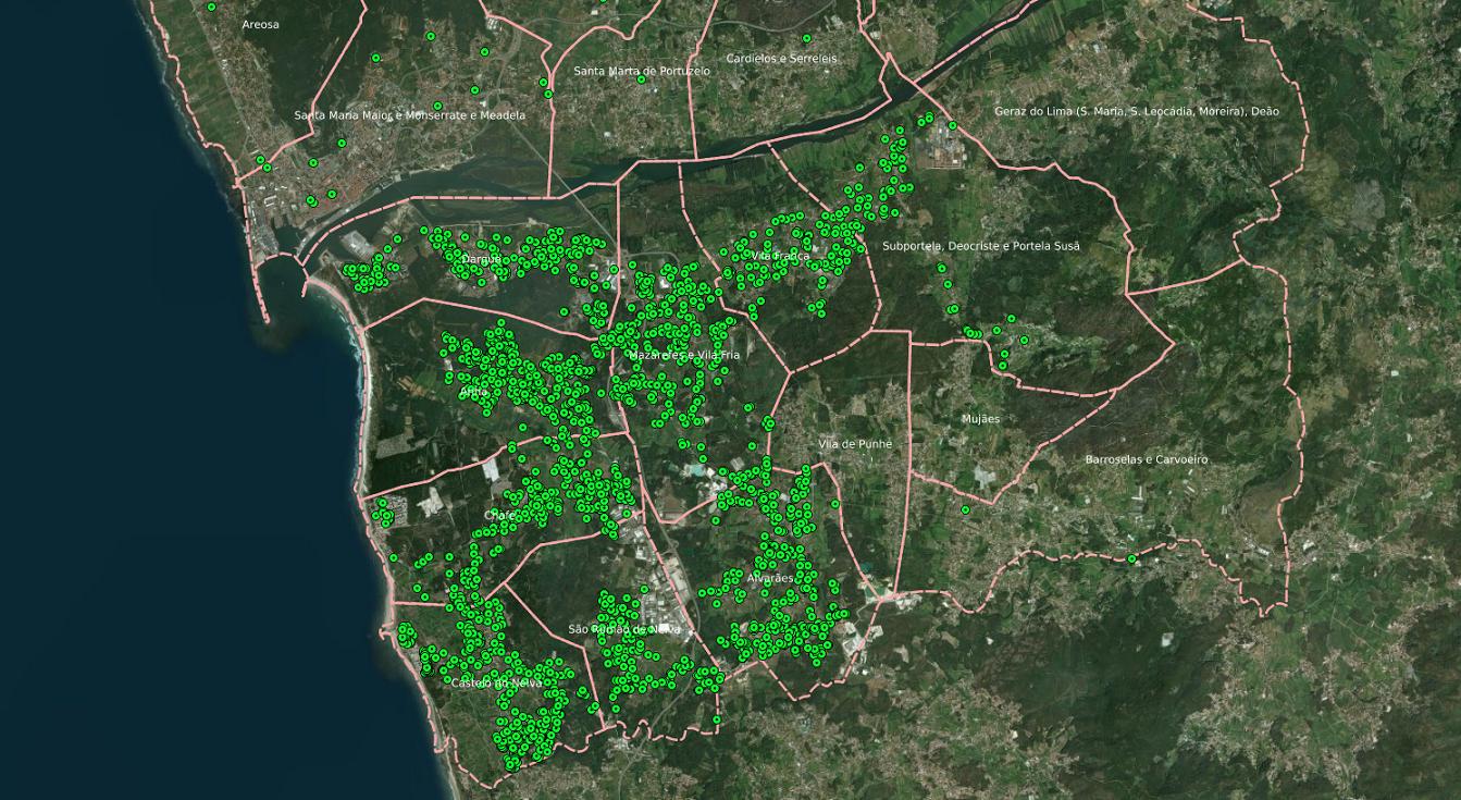 Mapa de aderentes Viana Abraça
